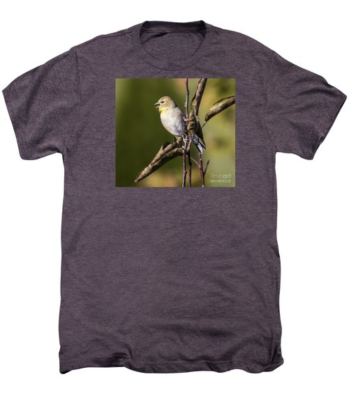 Men's Premium T-Shirt featuring the photograph American Goldfinch In Fall Colors  by Ricky L Jones