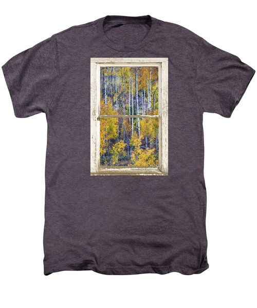 Aspen Tree Magic Cottonwood Pass White Farm House Window Art Men's Premium T-Shirt