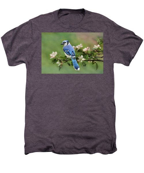 Blue Jay And Blossoms Men's Premium T-Shirt