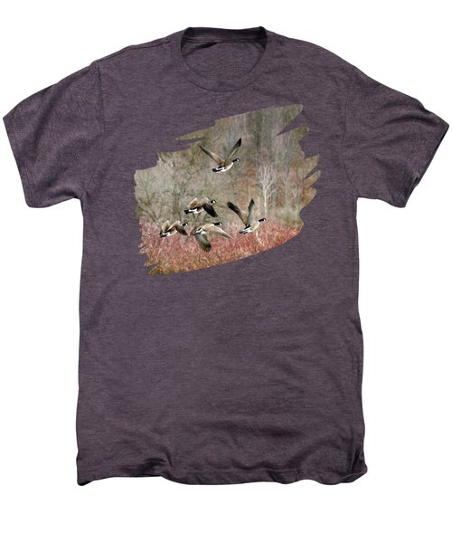 Canada Geese In Flight Men's Premium T-Shirt by Christina Rollo
