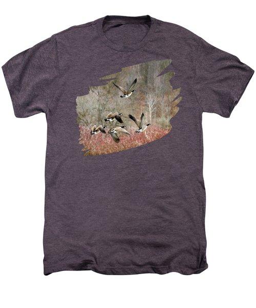 Canada Geese In Flight Men's Premium T-Shirt