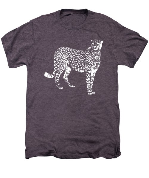 Cheetah Cut Out White Men's Premium T-Shirt by Greg Noblin