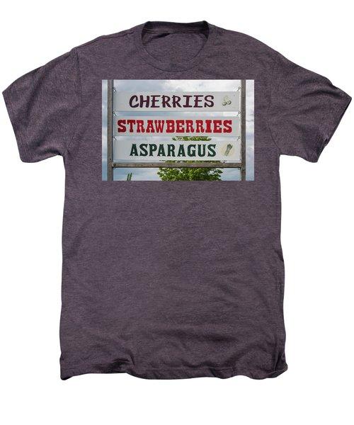 Cherries Strawberries Asparagus Roadside Sign Men's Premium T-Shirt by Steve Gadomski
