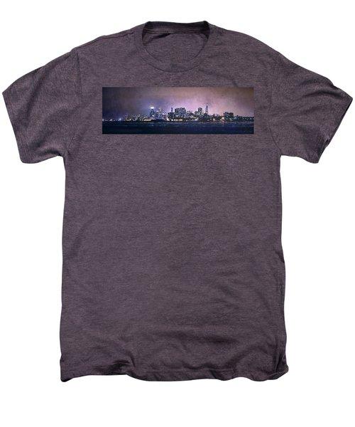 Chicago Skyline From Evanston Men's Premium T-Shirt by Scott Norris