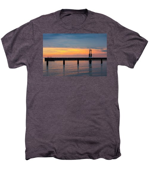 Men's Premium T-Shirt featuring the photograph Chicago Sunrise At North Ave. Beach by Adam Romanowicz