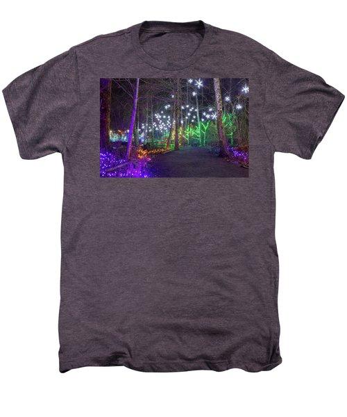 Christmas Lights Decoration Along Lafarge Lake Path Men's Premium T-Shirt