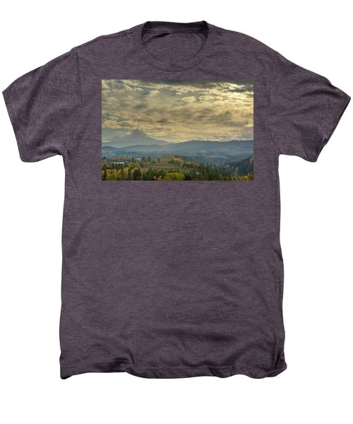 Clouds And Sun Rays Over Mount Hood And Hood River Oregon Men's Premium T-Shirt