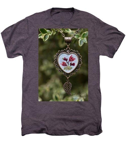 Coral Bell Pressed Flower Pendant Men's Premium T-Shirt