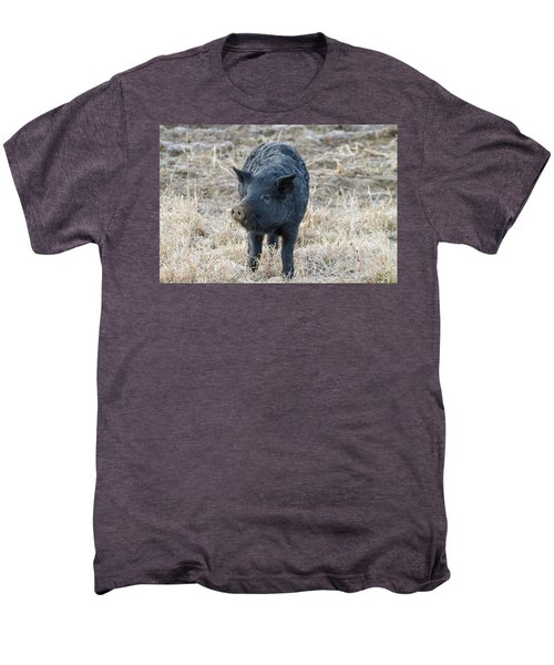 Men's Premium T-Shirt featuring the photograph Cute Black Pig by James BO Insogna