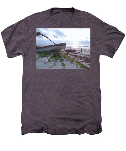 early morning African fisherman and wooden dhows Men's Premium T-Shirt