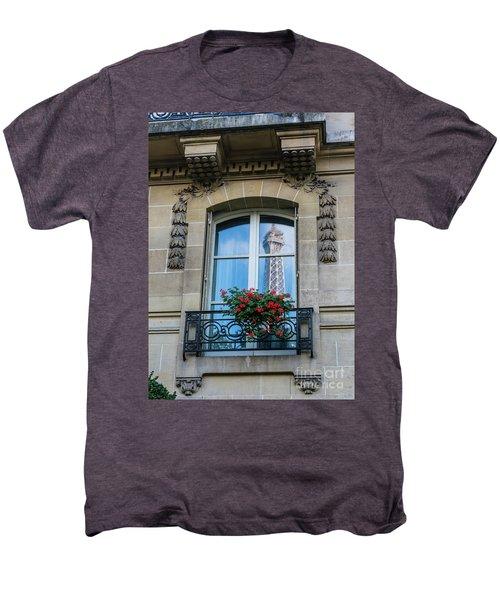 Eiffel Tower Paris Apartment Reflection Men's Premium T-Shirt by Mike Reid