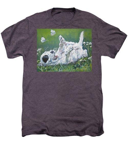 English Setter Puppy And Butterflies Men's Premium T-Shirt