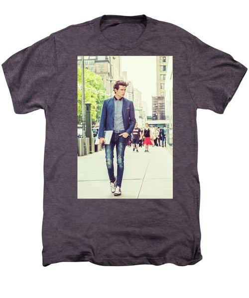 European College Student Studying In New York Men's Premium T-Shirt