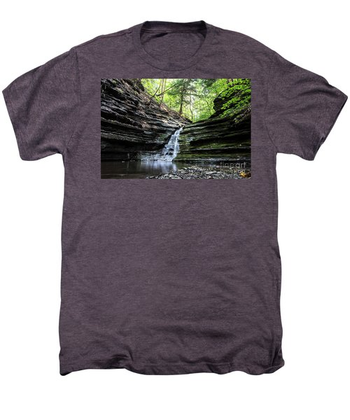 Men's Premium T-Shirt featuring the photograph Forest Waterfall by MGL Meiklejohn Graphics Licensing