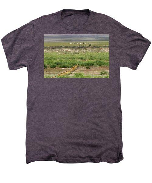 Men's Premium T-Shirt featuring the photograph Greenery In Desert, Gobi, 2016 by Hitendra SINKAR