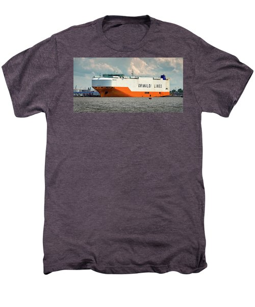 Men's Premium T-Shirt featuring the photograph Grimaldi Lines Grande Halifax 9784051 At Curtis Bay by Bill Swartwout Fine Art Photography