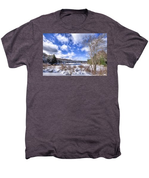 Men's Premium T-Shirt featuring the photograph Heavy Snow At The Green Bridge by David Patterson