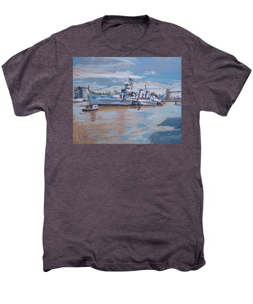 Hms Belfast Shows Off In The Sun Men's Premium T-Shirt
