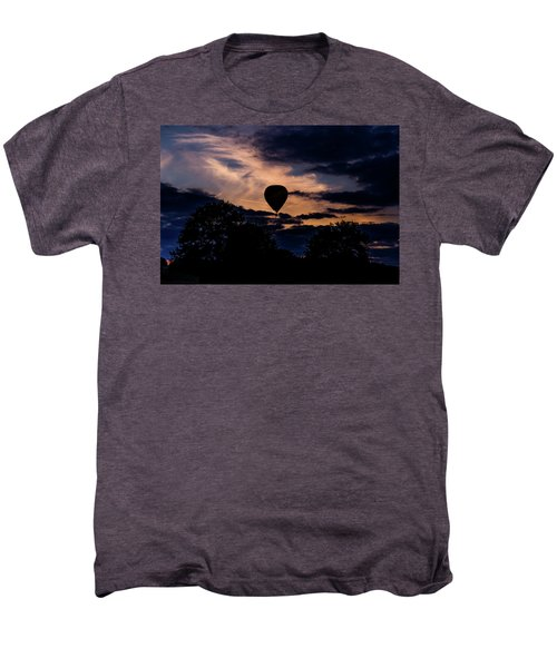 Hot Air Balloon Silhouette At Dusk Men's Premium T-Shirt