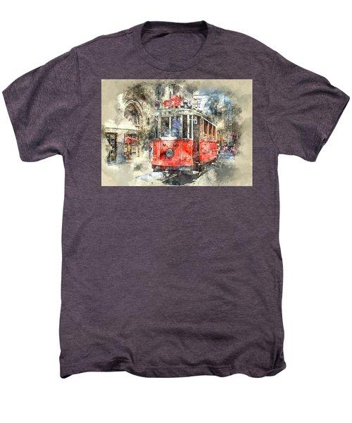 Istanbul Turkey Red Trolley Digital Watercolor On Photograph Men's Premium T-Shirt