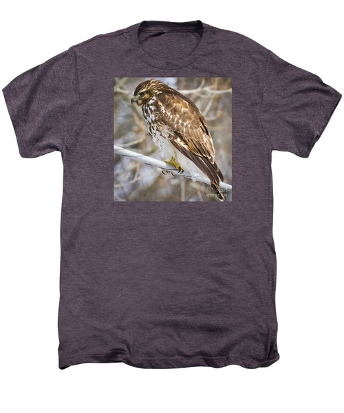 Men's Premium T-Shirt featuring the photograph Juvenile Red-shouldered Hawk  by Ricky L Jones