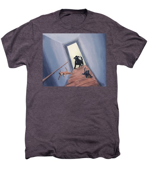 Lady Chases The Cats Down The Stairs Men's Premium T-Shirt
