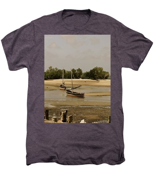Lamu Island - Wooden Fishing Dhows At Low Tide With Pier - Antique Men's Premium T-Shirt