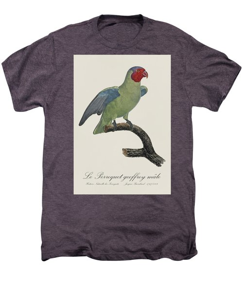 Le Perroquet Geoffroy Male / Red Cheeked Parrot - Restored 19th C. By Barraband Men's Premium T-Shirt by Jose Elias - Sofia Pereira