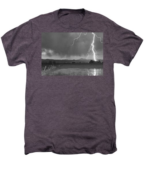 Lightning Striking Longs Peak Foothills 5bw Men's Premium T-Shirt