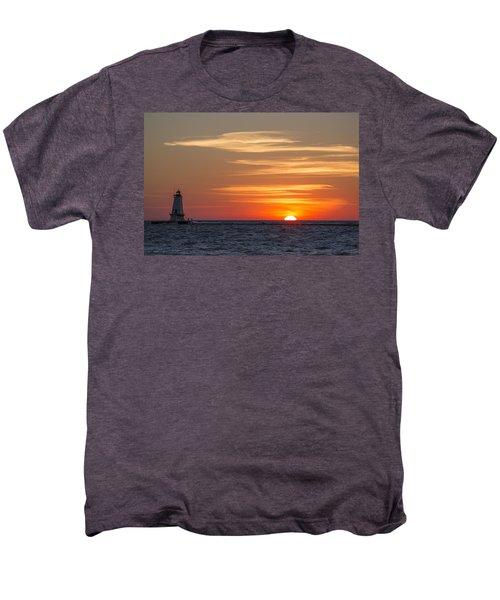 Ludington North Breakwater Light At Sunset Men's Premium T-Shirt