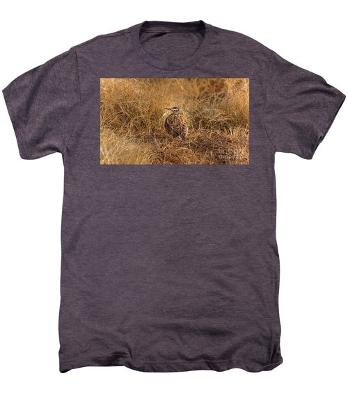 Meadowlark Hiding In Grass Men's Premium T-Shirt by Robert Frederick