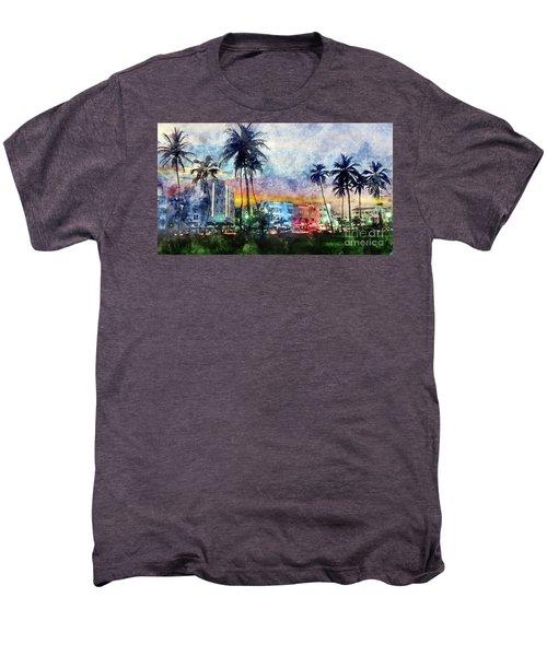 Miami Beach Watercolor Men's Premium T-Shirt by Jon Neidert