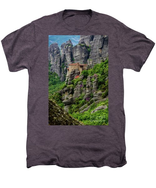 Monastery Of Saint Nicholas Of Anapafsas, Meteora, Greece Men's Premium T-Shirt