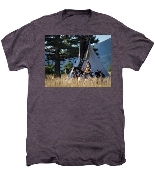 Native American In Full Headdress In Front Of Teepee Men's Premium T-Shirt