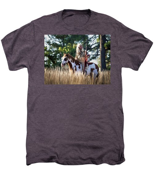 Native American In Full Headdress On A Paint Horse Men's Premium T-Shirt