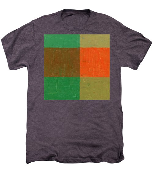 Men's Premium T-Shirt featuring the painting Orange With Brown And Teal by Michelle Calkins