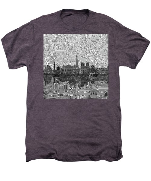 Paris Skyline Black And White Men's Premium T-Shirt