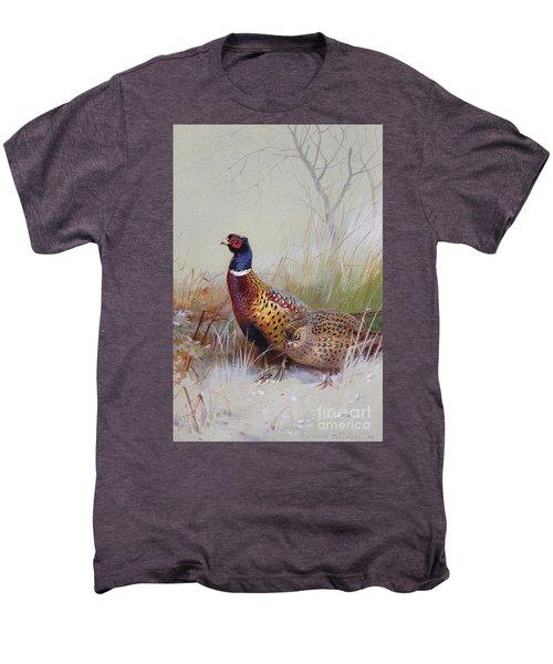 Pheasants In The Snow Men's Premium T-Shirt by Archibald Thorburn