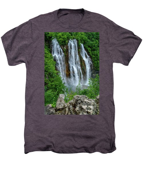 Plitvice Lakes Waterfall - A Balkan Wonder In Croatia Men's Premium T-Shirt