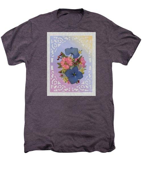 Pressed Flowers Arrangement With Pink Larkspur And Hydrangea Men's Premium T-Shirt