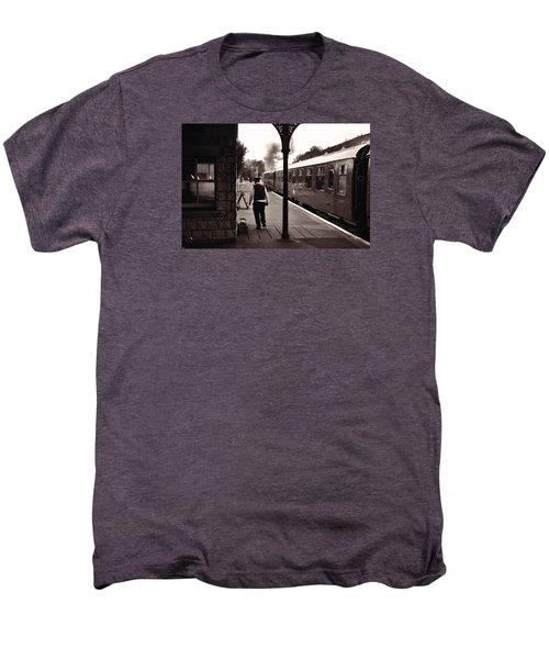 Ready To Depart Corfe Castle Station Men's Premium T-Shirt by Nop Briex