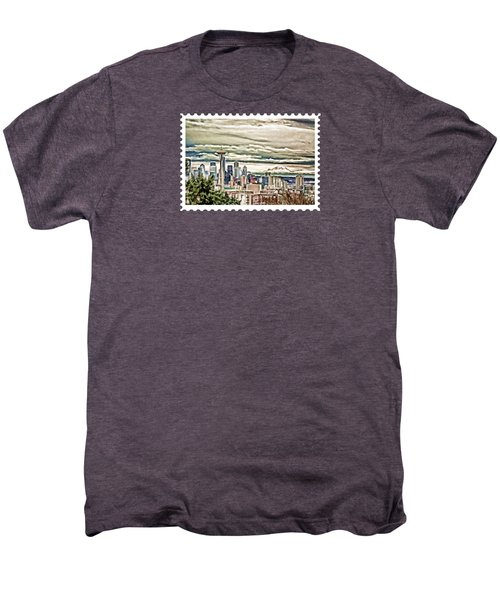 Seattle Skyline In Fog And Rain Men's Premium T-Shirt by Elaine Plesser