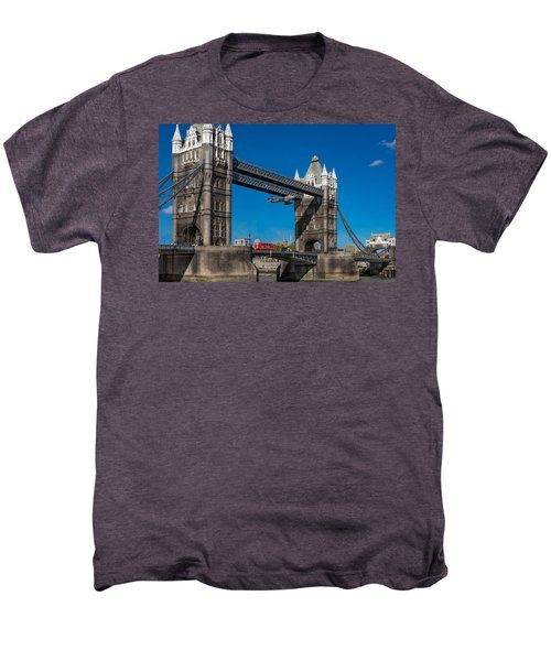 Men's Premium T-Shirt featuring the photograph Seven Seconds - The Tower Bridge Hawker Hunter Incident  by Gary Eason