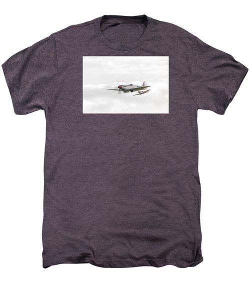 Silver Spitfire In A Cloudy Sky Men's Premium T-Shirt by Gary Eason