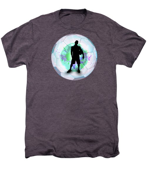 Soccer Player Posing With Ball Soccer Background Men's Premium T-Shirt by Elaine Plesser