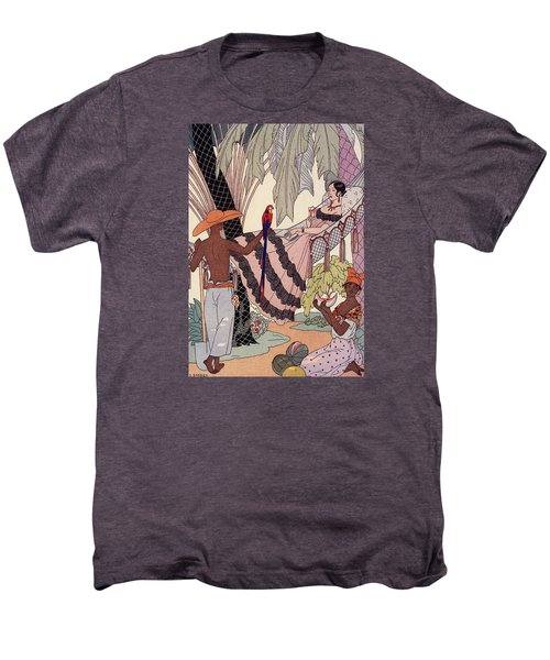 Spanish Lady In Hammock With Parrot Men's Premium T-Shirt by Georges Barbier