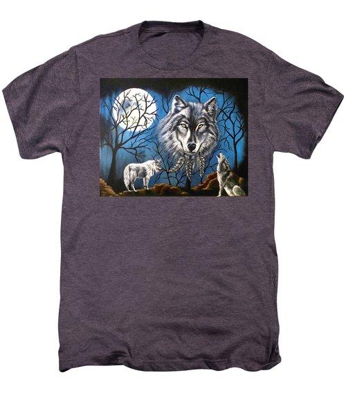 Spirit Wolf Men's Premium T-Shirt by Teresa Wing