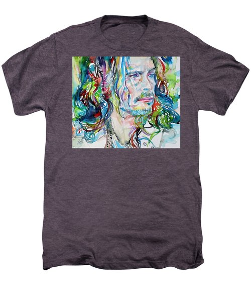 Steven Tyler - Watercolor Portrait Men's Premium T-Shirt