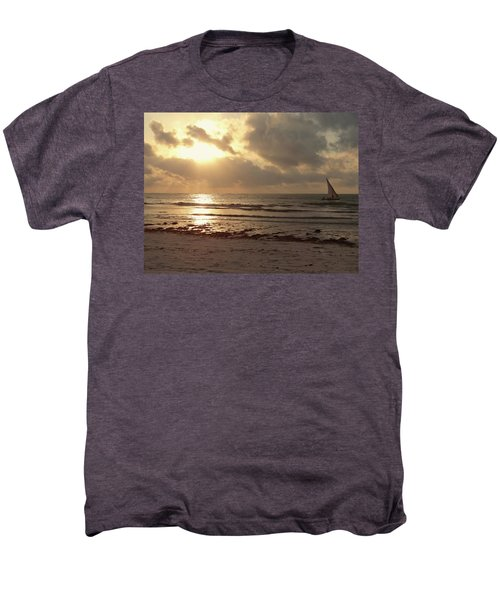 Sun Rays On The Water With Wooden Dhow Men's Premium T-Shirt