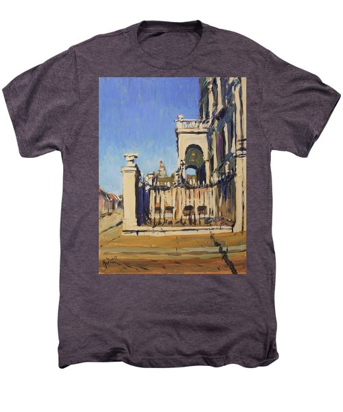 Sunset Cityhall Maastricht Entrance Men's Premium T-Shirt by Nop Briex